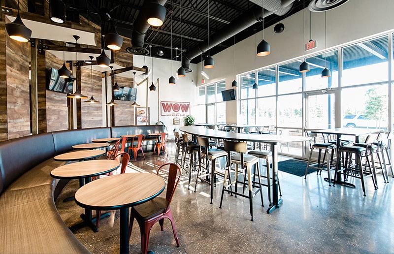 Interior photo of WOW American Eats restaurant