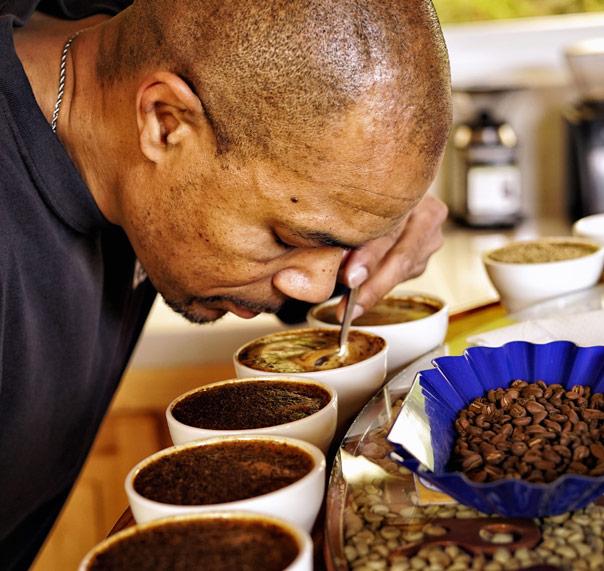 Felton Jones with coffee farmer