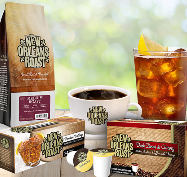 New Orleans Roast coffee products on table